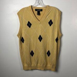 Brooks Brothers Yellow Argyle Silk Sweater Vest